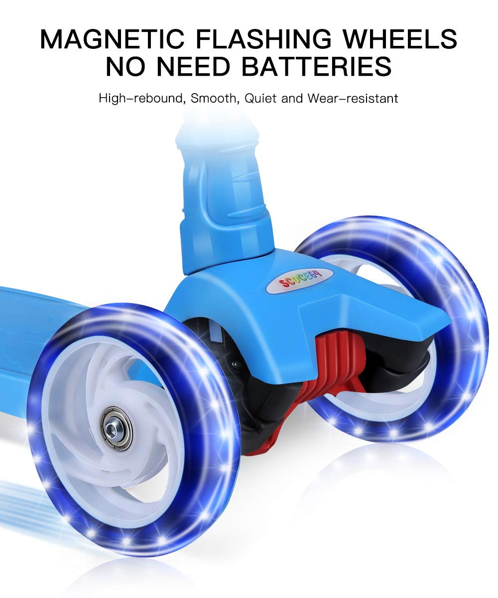 OUTON Kick Scooter for Kids 3 Wheel Lean to Steer 4 Adjustable Height Big PU Flasing Wheels Blue