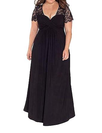 Suejoe Womens Plus Size Dresses Faux Wrap Short Sleeve Maxi Solid