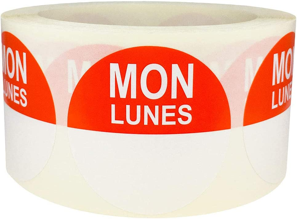 InStockLabels Removable Food Rotation Labels Monday/Lunes 2 Inch 500 Adhesive Stickers, Orange