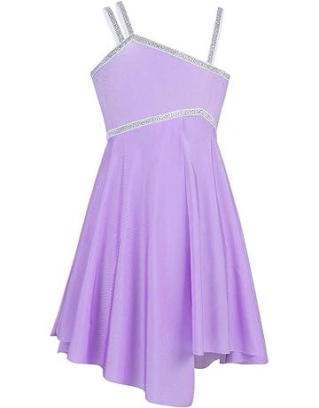 c9bed0e999 iiniim Vestido de Danza Ballet Niña Maillot con Falda Plisado Vestido  Tirantes Brillante Leotardo Gimnasia con