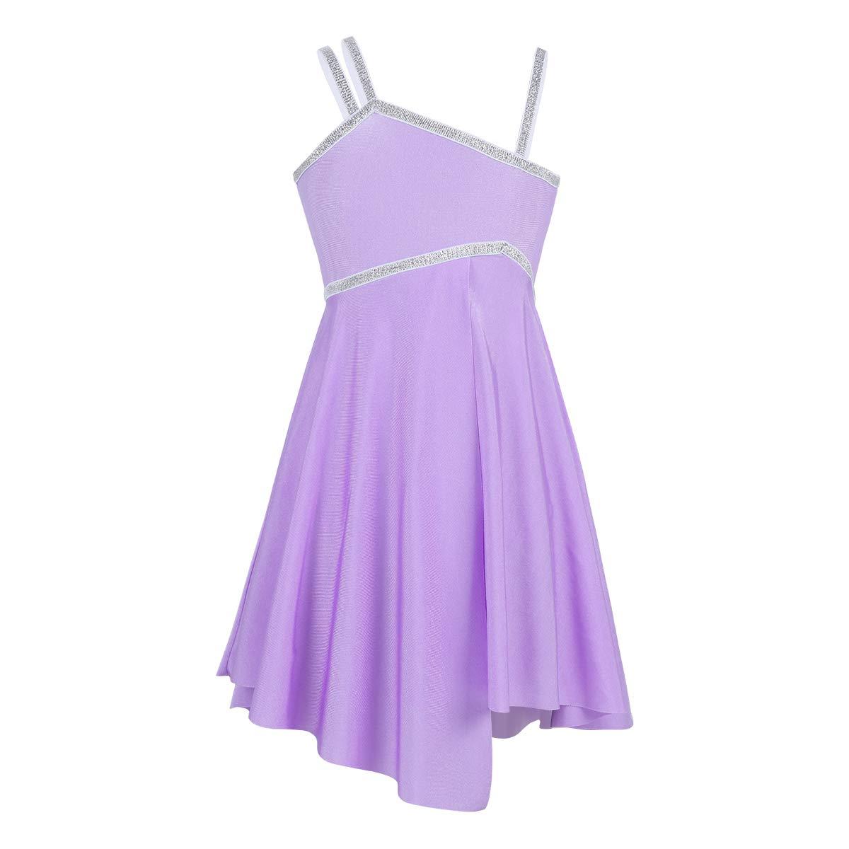 a4cee9f8fc40 YiZYiF Girl's Kids Ballerina Sequined Camisole Lyrical Dress Asymmetric Leotard  Skirt Dancing Costumes