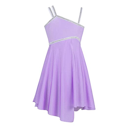iEFiEL Girls Lyrical Sequined Ballet Dance Dress Gymnastics Camisole  Leotard Ballerina Fairy Dancing Costumes Dancewear Lavender 27a560f443b4