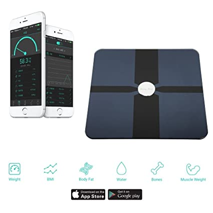 SmartScale Bluetooth 4.0 Balance Composición corporal Monitor de peso, IMC, porcentaje de grasa corporal