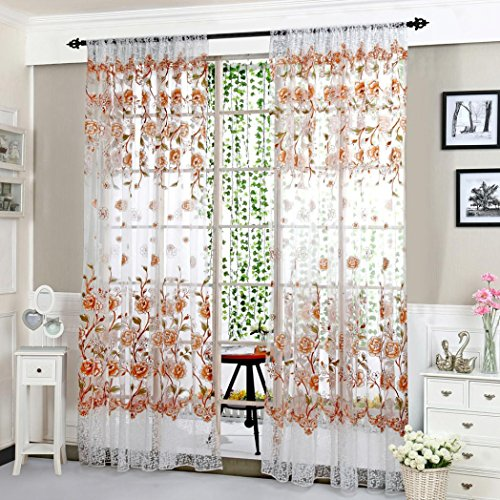 Window Treatment Blackout Voile Curtains/Drapes for Bedroom 39.4×78.7in(100x200cm) (Coffee) ()