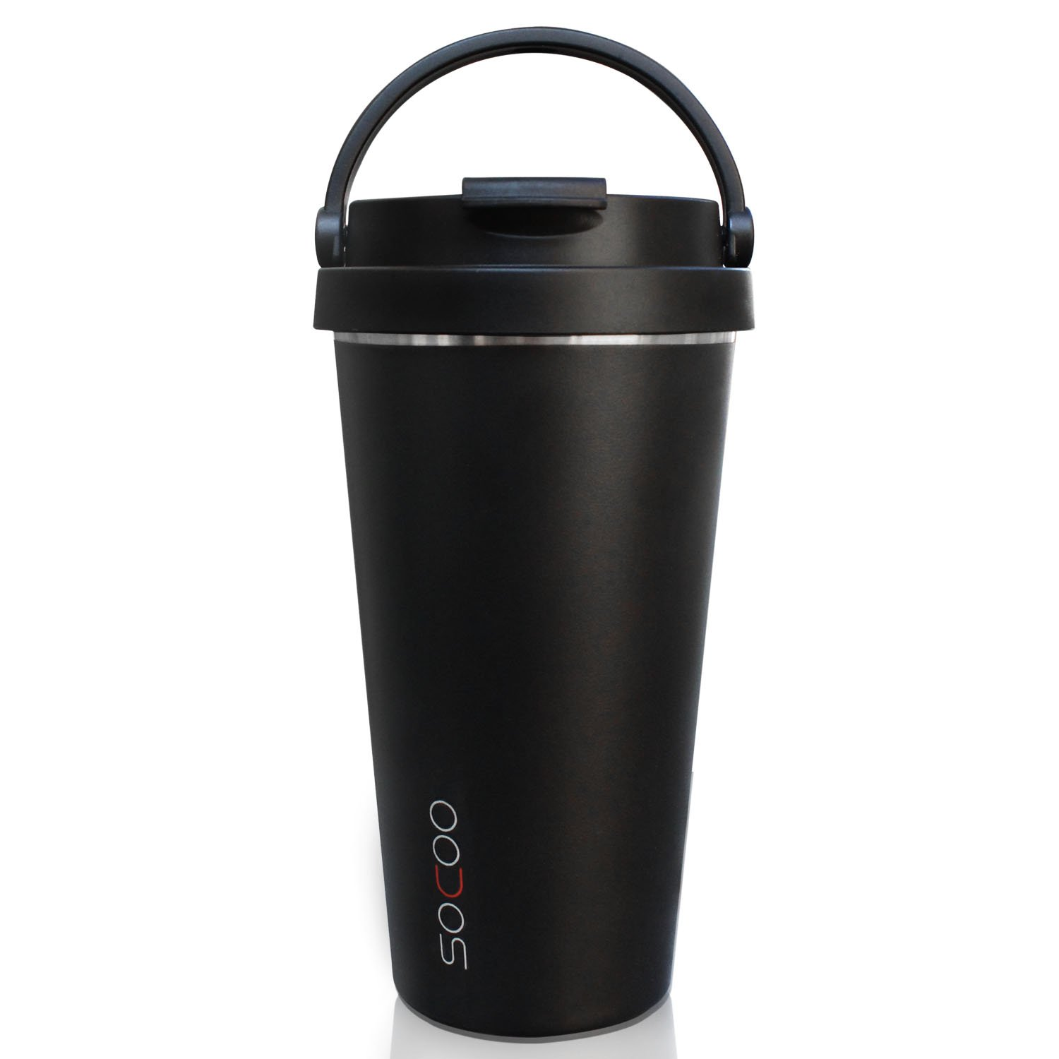 Travel Coffee Mug For Men Woman/Coffee Travel Cup With Lid SOCOO Portable Stainless Steel Insulated Double Walled Reusable BPA Free For Coffee, Tea, Chocolate 16OZ (black)