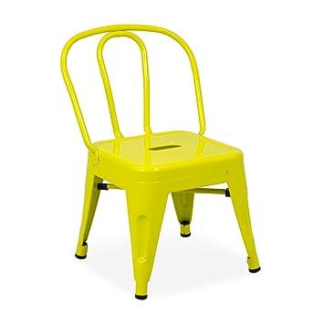 Vaukura Silla Tolix Kids - Silla Industrial Metálica Brillo Infantil - (Varios Colores) (Amarillo Limón)