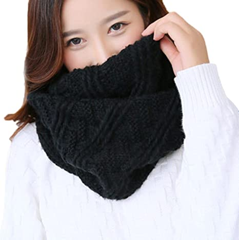 Black Infinity Scarf Thick Warm Cable Knit Wool Muffler Loop Circle Neck Warmer