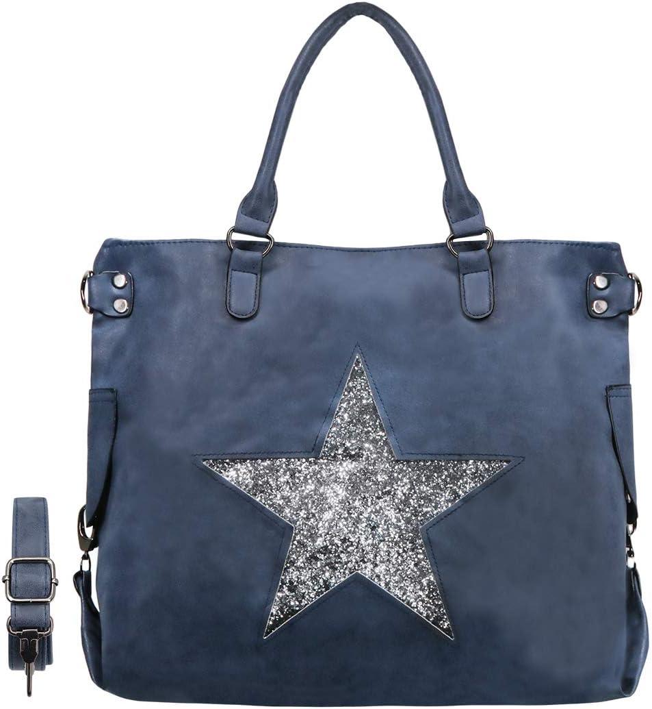 CRAZYCHIC - Bolso de Mano Grande Mujer - Patrón de Estrellas Lentejuelas - Bolsos de Hombro Tote Shopper Gran Capacidad - Cuero PU Metalizado - Bolsos Shopping Bag - Azul