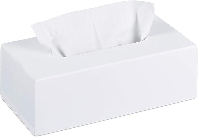 Relaxdays, 7,5 x 24 x 12 cm, Blanco Caja para pañuelos de bambú, Portapañuelos con suelo deslizante: Amazon.es: Hogar
