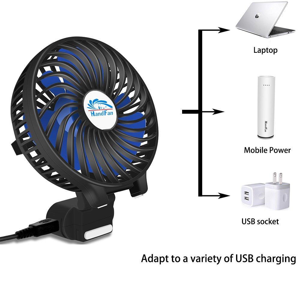 HandFan Portable Handheld Fan, Mini Hand Fan/Small Desk Fan Folding Change 5-18 Hours Working Time Personal Fan Rechargeable Battery/USB Operated Electric Fan Handle is 5200mA Power Bank(Power Black) by HandFan (Image #3)