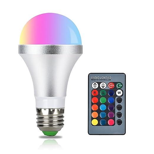 Bombillas RGB LED, 5W E2,7Base Regulable, cambia de