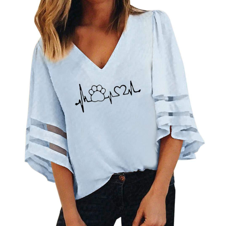 Spbamboo Women Blouse V-Neck Top Print Short Flare Sleeve Loose Oversize T-Shirt
