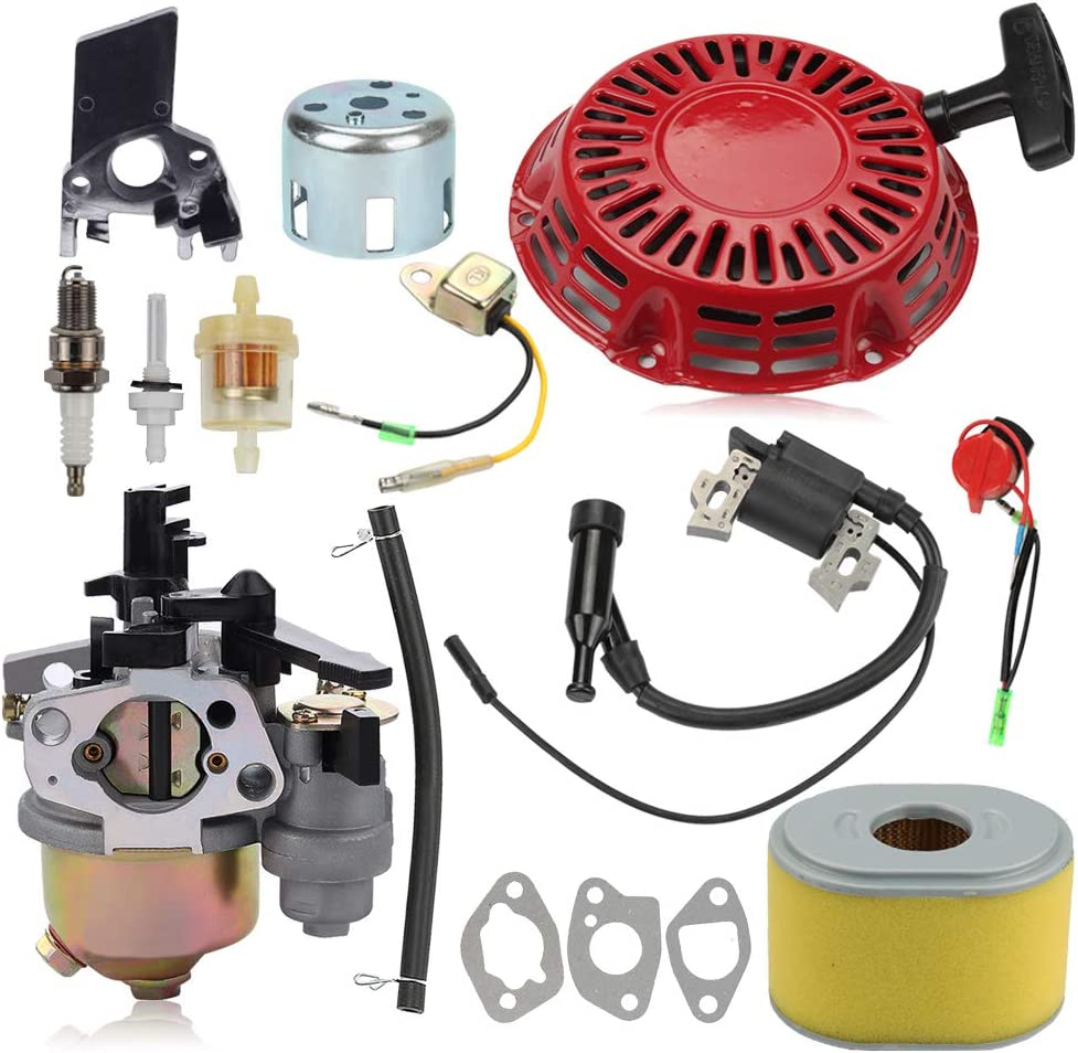Alibrelo 212CC Carburetor Recoil Starter for Harbor Freight Predator 60363 68121 68120 69730 69727 Engine R210 Gas Engine Honda GX160 GX200 5HP 5.5HP 6.5HP Parts Tune Up Kit 16100-ZH8-W61