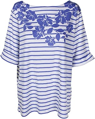 Karen Scott Womens Plus Floral Print Striped Casual Top