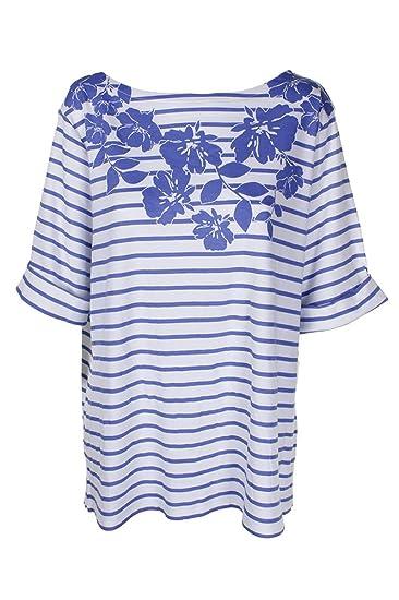 ead1087543bd8 Karen Scott Plus Size Striped Floral-Print Top In Regatta Blue at ...