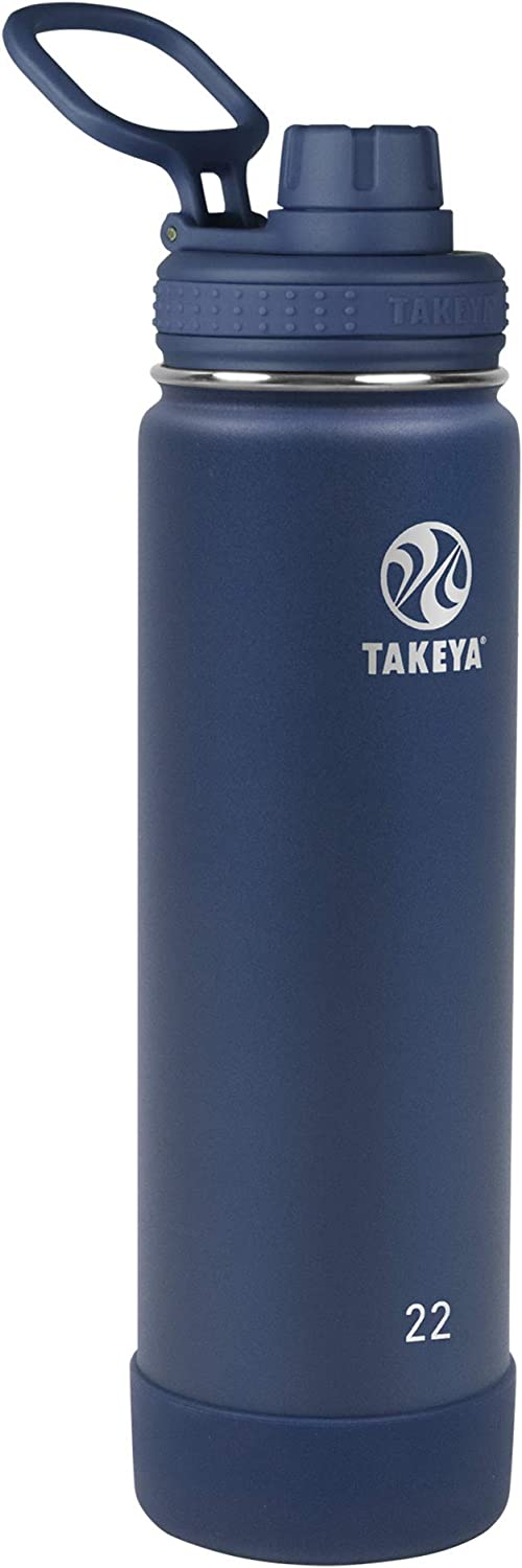 Takeya Actives Insulated Water Bottle w/Spout Lid, Midnight, 22 Ounce