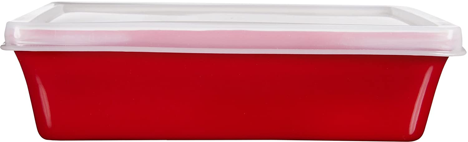 Home Essentials & Beyond Home Essentials Storage Essentials 16 oz Rectangular Baker with Lid, Red 70995