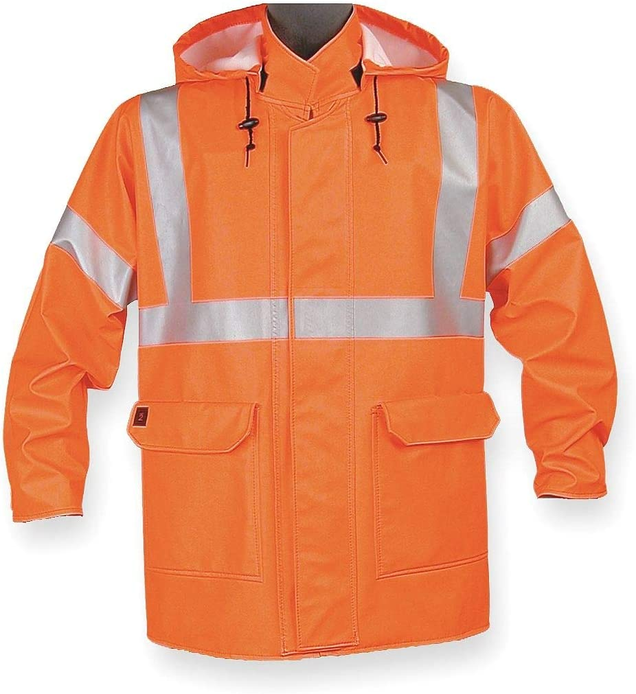 4503JFO2 HiVis Orn 2XL Nasco Arc Flash Rain Jacket W//Hd