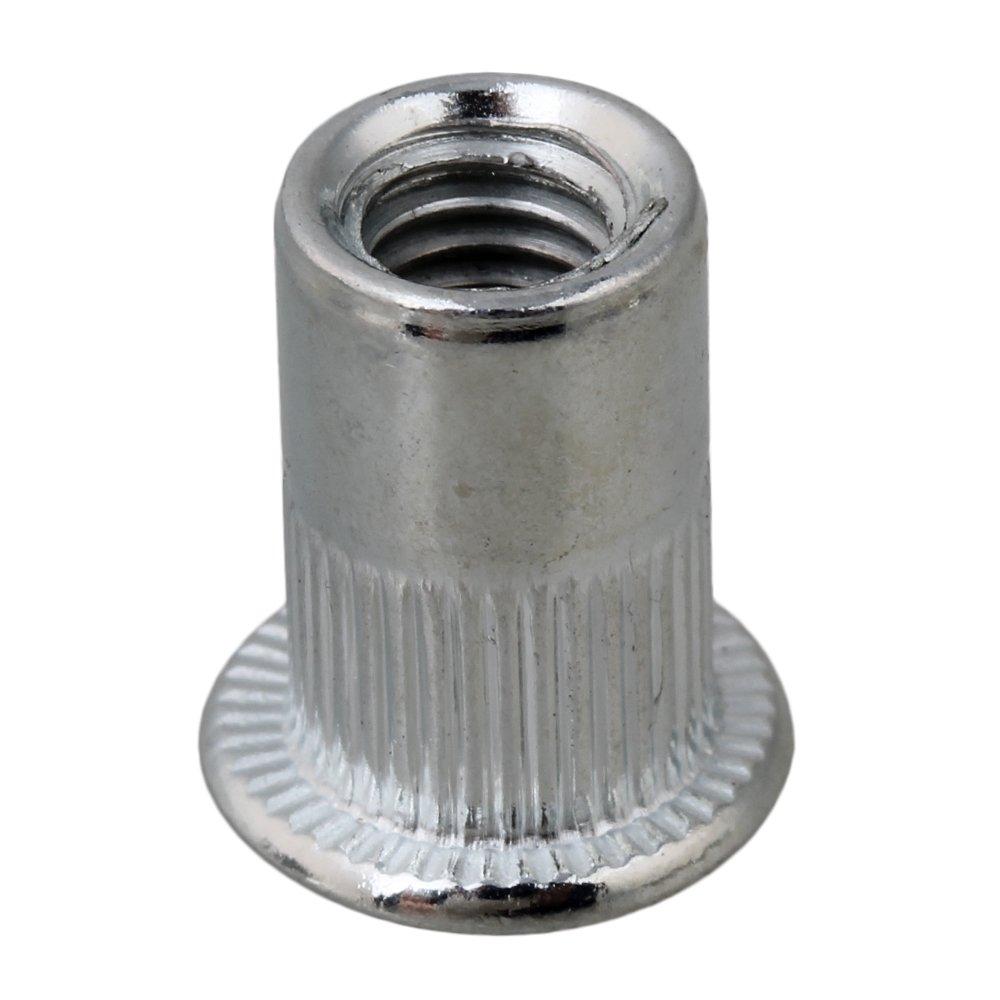 BQLZR Carbon Steel M6 Threaded Flat Head Rivet Nut 6mm Pack of 25