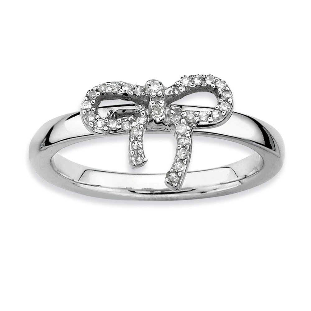 Roy Rose Jewelry Sterling Silver Stackable Expressions Bow Diamond Ring Size 7