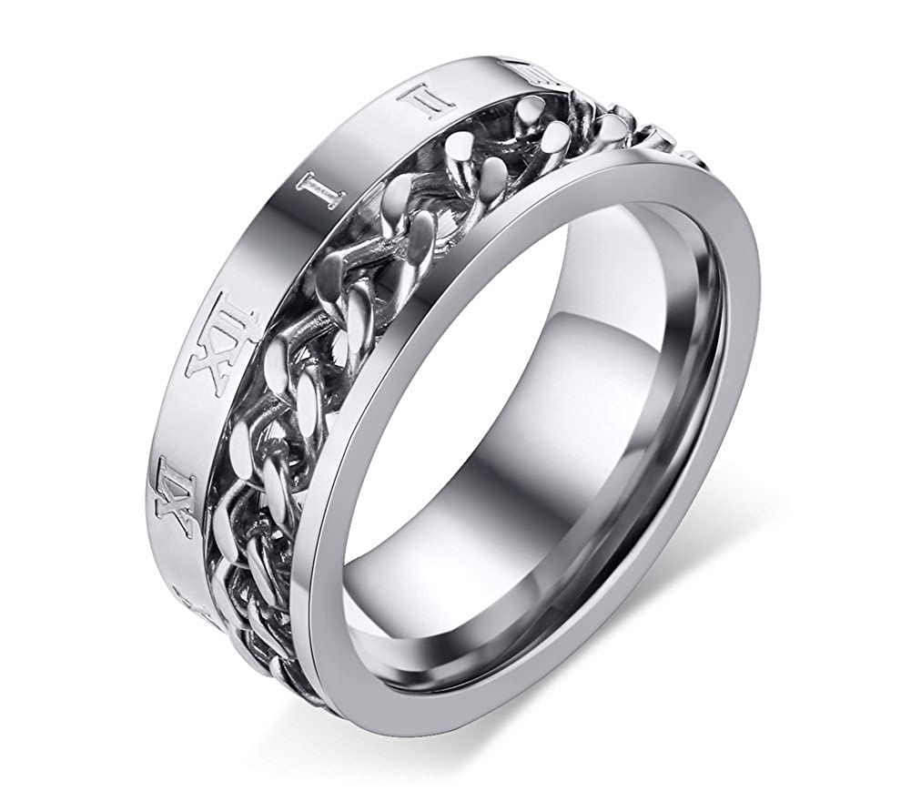 Stainless Steel 8mm Roman Numeral Cuban Chain Center Spinner Wedding Ring Band for Men Boy Mealguet MG--R--371