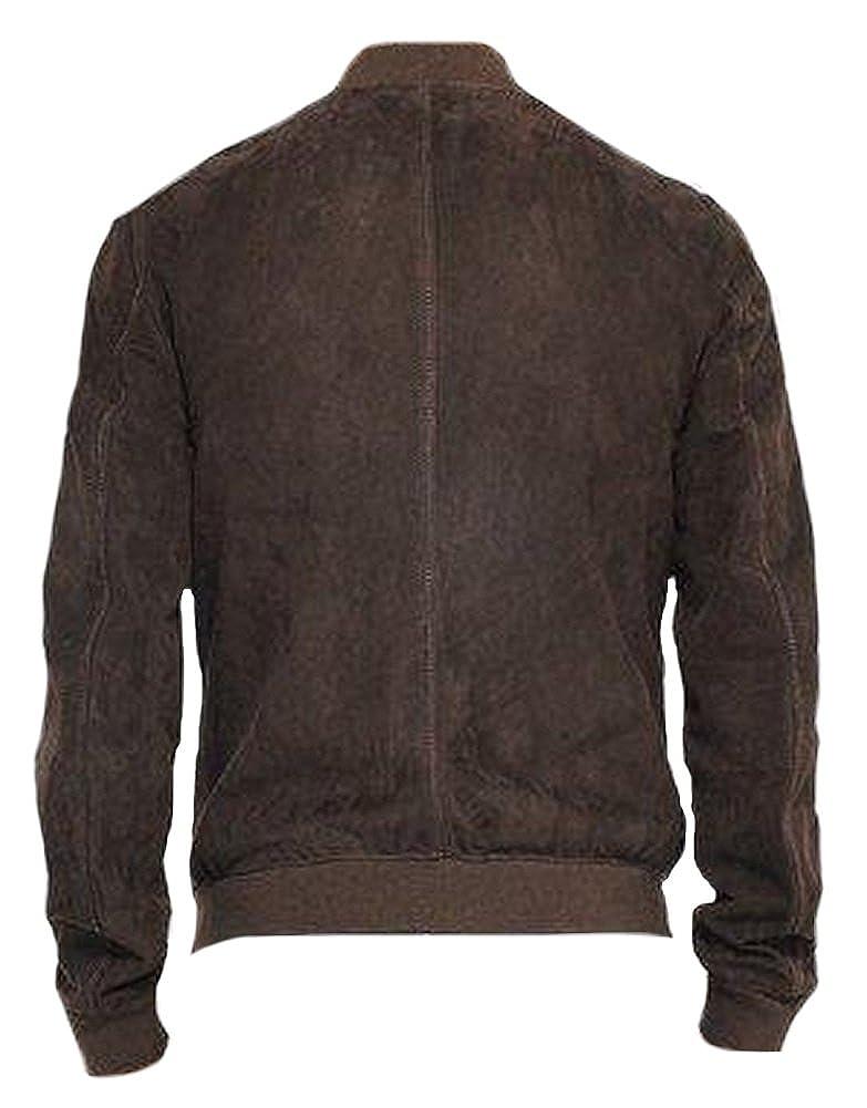 Classyak qualità Moda Uomini Bomber Giacca in Pelle Scamosciata Marrone   Amazon.it  Abbigliamento fa80f7d42bf