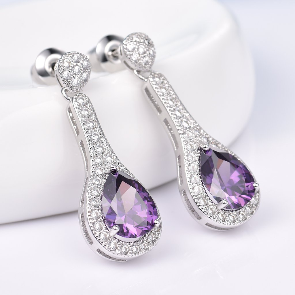 GULICX Unique Design White Gold Electroplated Drop Earrings Silver Tone Purple Dangle Zircon Jewelry