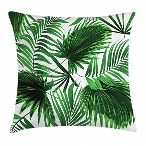 (Ambesonne Palm Leaf Throw Pillow Cushion Cover, Realistic Vivid Leaves of Palm Tree Growth Ecology Lush Botany Themed Print, Decorative Square Accent Pillow Case, 16 X 16 Inches, Fern Green White)