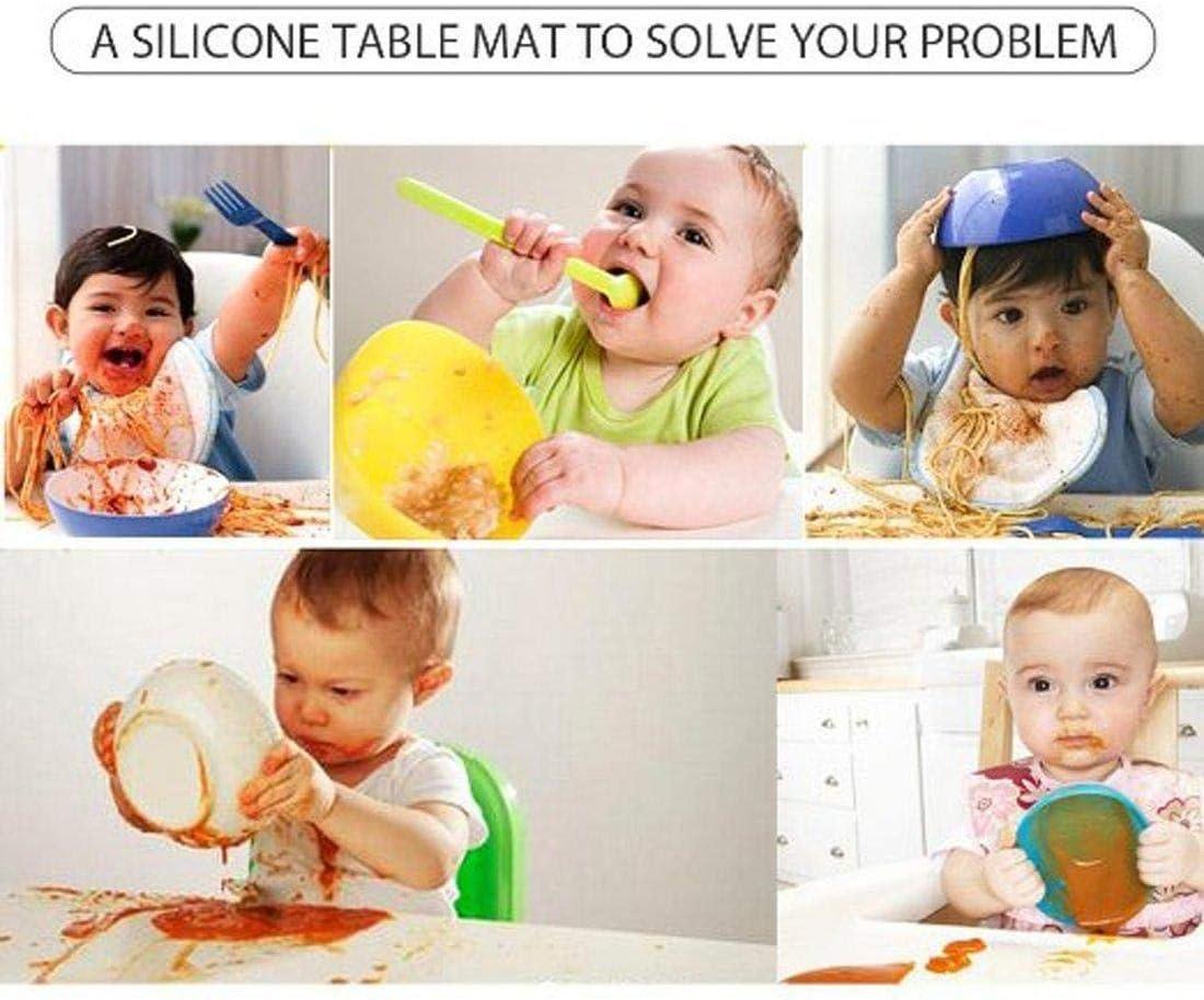 Depory Set de Table Pliable en Silicone pour Enfant Motif Nuage Gris