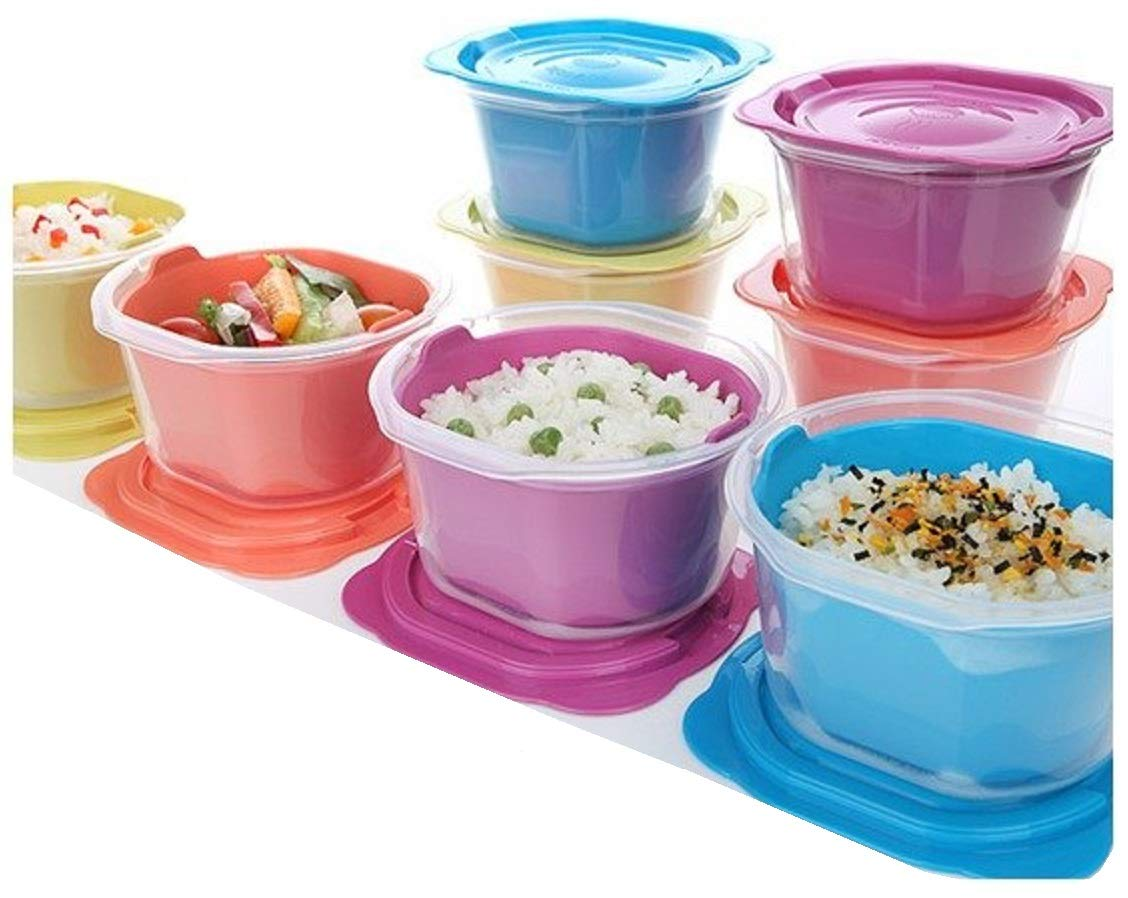 MATCOOK BPA Free Double Steam Space Freezer Microwave Food Rice Container Set of 8 (460ml / 15.6oz) Good for Gift