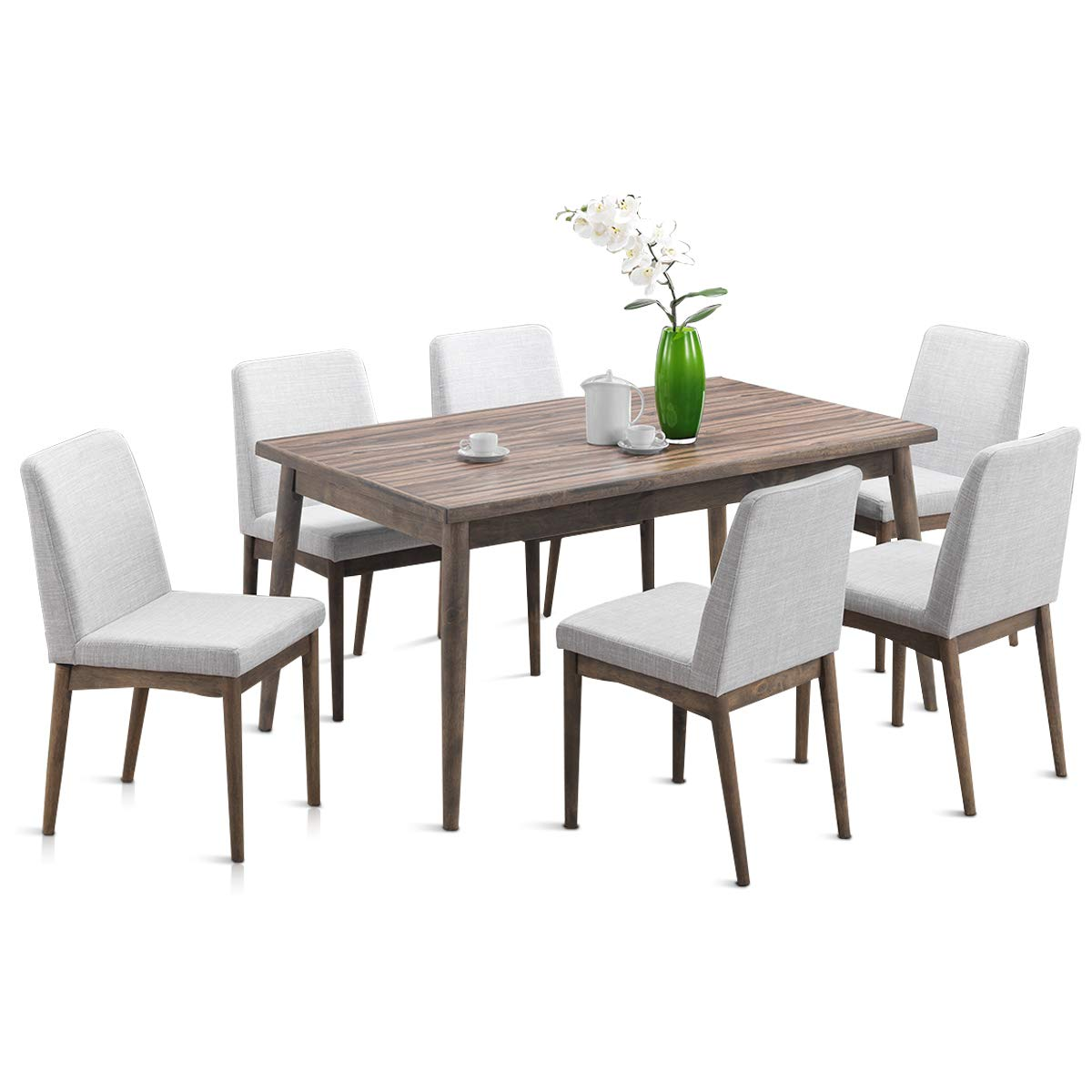 Giantex 7 Pcs Dining Table and Chairs Kitchen Dining Room Table Set with Wood Legs and Upholstered Seat 7 pcs Set