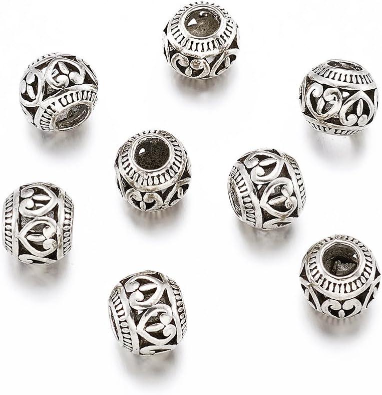 50 pcs Antique Silver Rondelle Heart Tibetan European Beads 11x9mm Hole 4.5mm