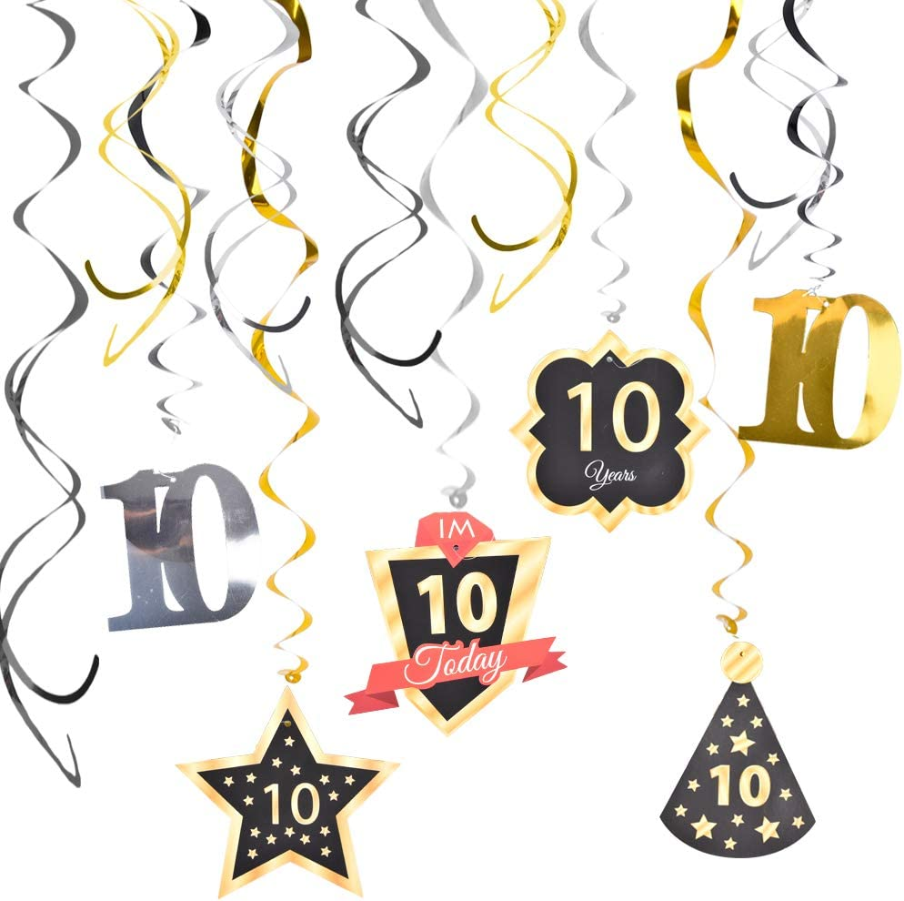 Ushinemi 10th Birthday Party Decorations, 10 Birthday Hanging Swirl Streamers Decor, Gold Silver and Black, 12pcs