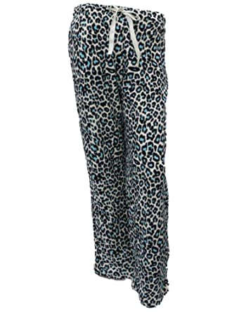 Walmart Womens Blue Black Leopard Print Fleece Sleep Pants Pajama Bottoms Lounge Pants