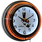 Guinness Brewery Since 1759 Beer Draught Logo Orange Double Neon Wall Clock