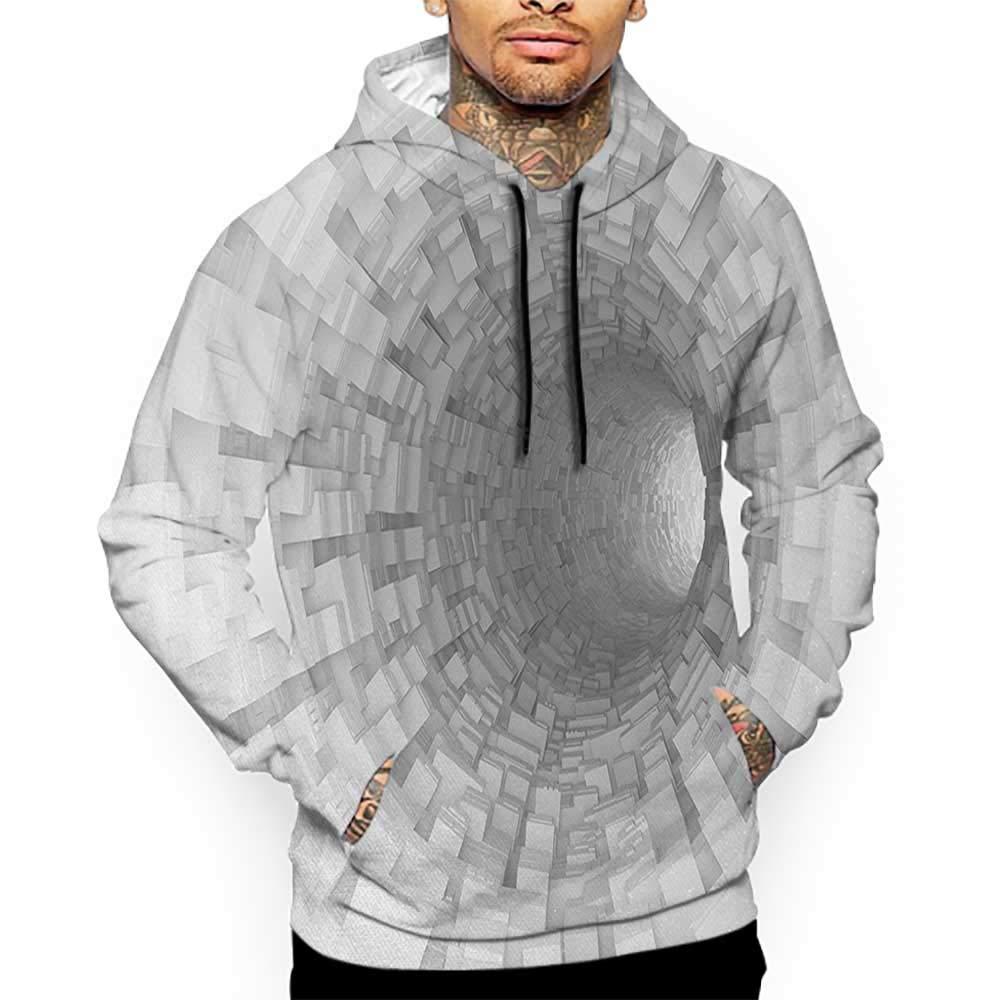 Hoodies Sweatshirt/Men 3D Print Outer Space,Turning Tunnel Inside Endless Hole Magnetic Field Deep in The Space Digital Artwork,Gray Sweatshirts for Women Hoodie Pullover