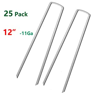 AAGUT OuYi 12 Inch Garden Securing Stakes/Spikes/Pins/Pegs 11 Gauge Galvanized Steel, Anchoring Landscaping, Weed Barrier Fabric, Ground Cover Pack of 25