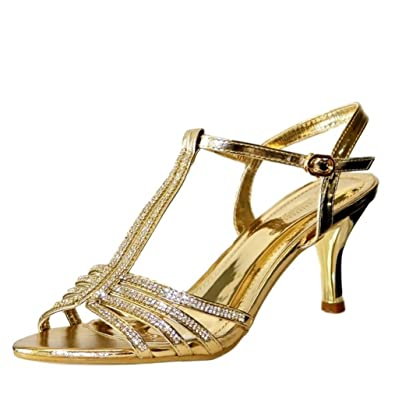 b4fc10ef6 Rock on Styles Ladies Gold Silver Black Party Prom Diamante Ankle Straps  Low Kitten Heel Shoes