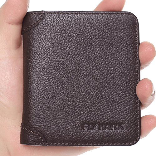 FlyHawk Italian Cowhide Men's RFID Blocking Genuine Leather Bifold Wallet, Mini-rfid Blocking-vertical-brown, One Size (Brown Vertical Leather)
