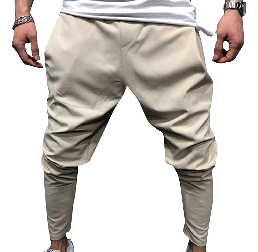 YUNY Mens Sportstyle Middle Rise Pure Color Western Harem Pant Beige XL