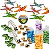 Video Gamer Birthday Party Favors for 12 - Gliders (12), Camo Dog Tag Chains (12), Mini Treasure Chests (12), Camo Treat Bags and Gamer Party Sticker (Total 37 Pieces)