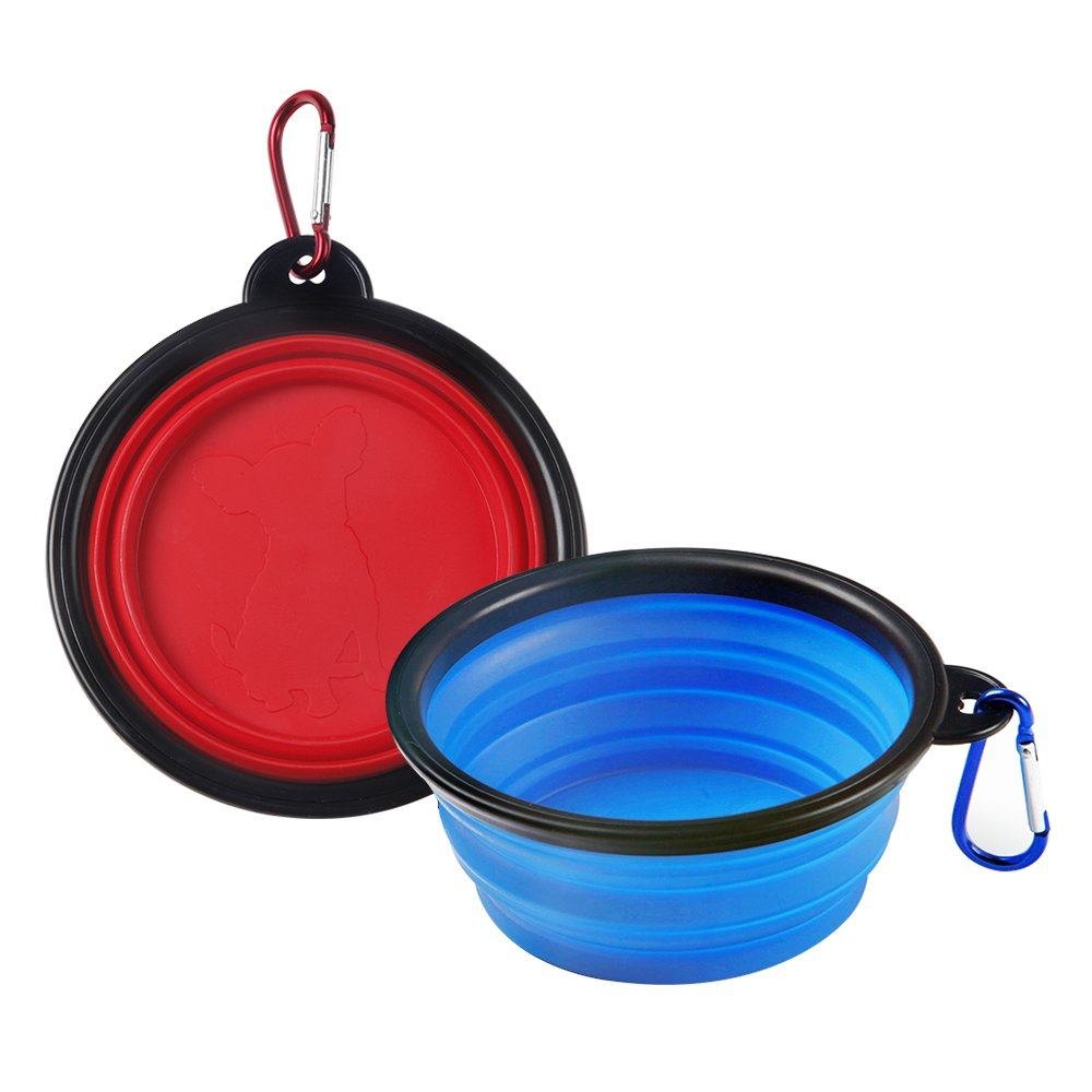 2-pack Travel Dog Bowl Portable Foldable Expandable Collapsible Silicone Pet Bowls,Dog or Cat Food Feed and Water on Journeys, Hiking, Kennels & Camping-Carabiner Included