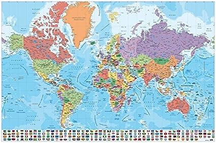 Grupo Erik Editores, S.L. - Póster mapa mundo-e grupo erik: Amazon.es: Oficina y papelería