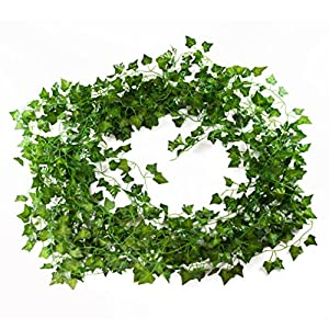 Artificial Ivy Plant Vines - 12-Pack (12 x 6.9 Feet) - Fake Greenery Garland 56