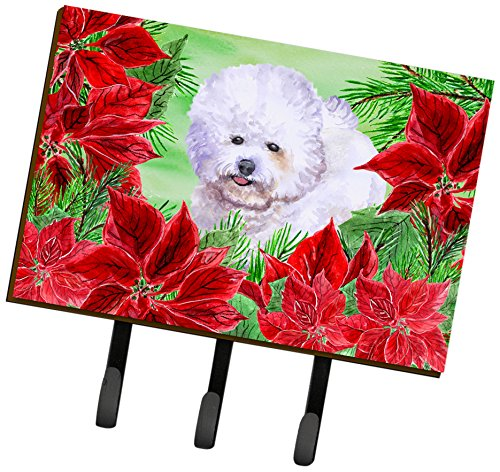 Poinsettia Wall - Caroline's Treasures Bichon Frise Poinsettias Wall Hook, Triple, Multicolor