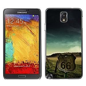 Ruta 66 de Estados Unidos EE.UU. - Metal de aluminio y de plástico duro Caja del teléfono - Negro - Samsung Note 3 N9000