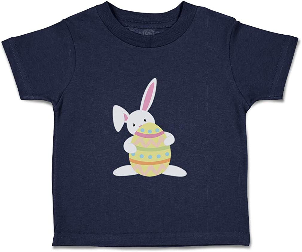 Custom Baby /& Toddler T-Shirt White Bunny Holds Orange Egg Boy Girl Clothes
