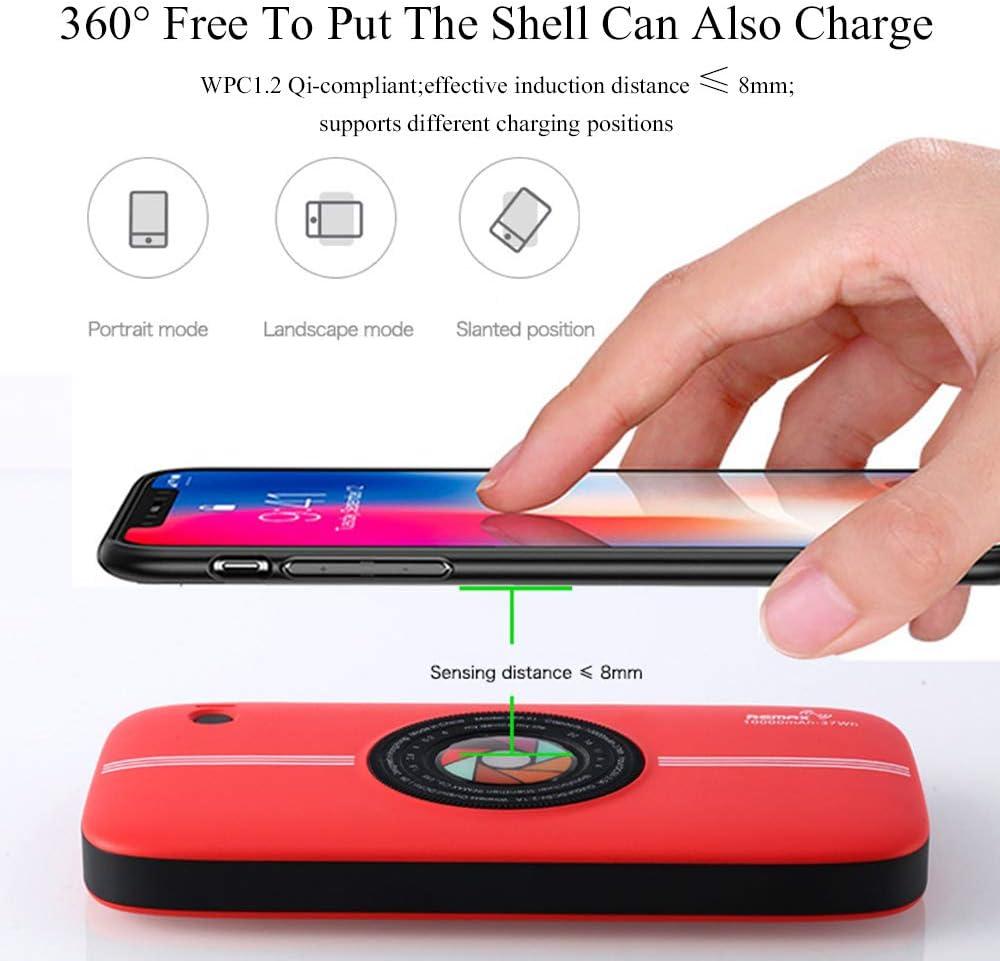 MYYING ELE Qi Power Bank Wireless 10000mAh, Caricabatterie Portatile Caricatore Entrata Batteria con Dual USB per Smartphone, Tutti i dispositivi compatibili Qi Dispositivi Red