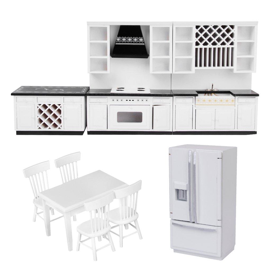 Baoblaze escala 1 12 miniaturas set de de de muebles de for Accesorios decorativos para cocina