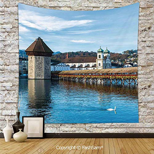 FashSam Polyester Tapestry Wall Panoramic View of Oak Chapel Bridge Northern Lands Lake European Aged City Print Hanging Printed Home Decor(W51xL59)]()